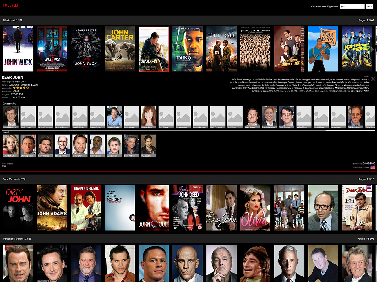 Client TMDB con la ricerca film, attori e serie TV.